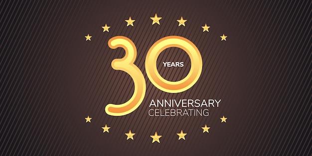 Icona di vettore di 30 anni anniversario, logo. elemento di design grafico con cifre al neon dorate per la carta del 30° anniversario