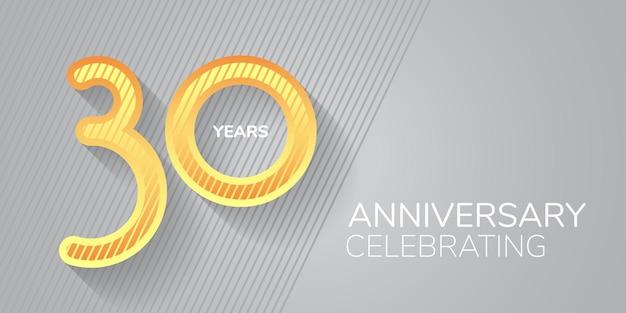 Icona di vettore di 30 anni anniversario, logo. numero al neon e bodycopy per biglietto di auguri per il 30° anniversario, invito