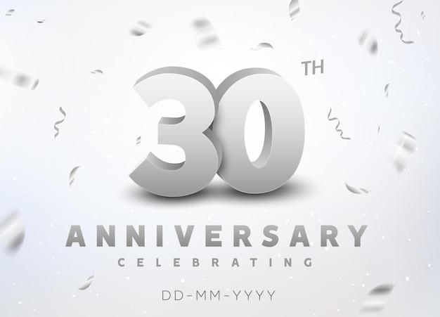 Evento di celebrazione dell'anniversario del numero d'argento di 30 anni. design per la cerimonia dello stendardo dell'anniversario per i 30 anni.
