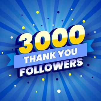 3000 seguaci banner colorato con nastro blu