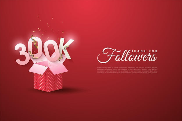 300k follower con numeri illustrati su scatole regalo aperte.