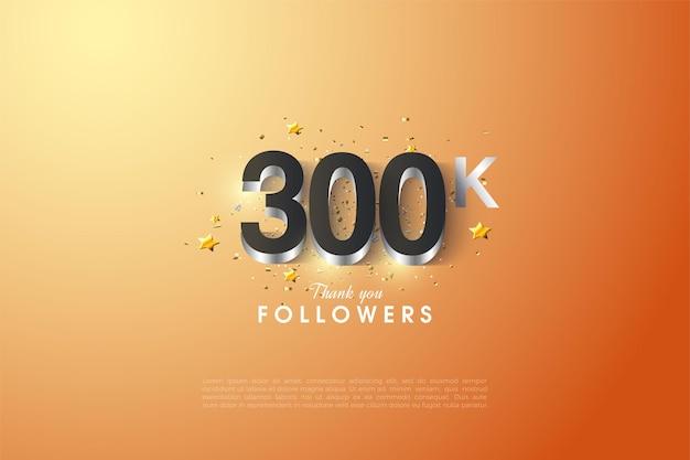300k follower con uno strato di numeri lucidi argento.