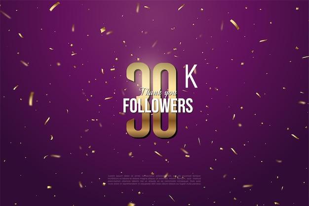 Sfondo di follower 30k con sfondo viola modellato in schizzi d'oro.
