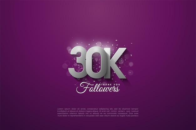 Sfondo di 30k follower con figure d'argento sovrapposte su uno sfondo viola.