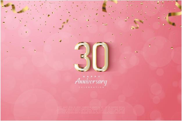 Sfondo del trentesimo anniversario con illustrazione di numeri in oro di lusso su sfondo rosa