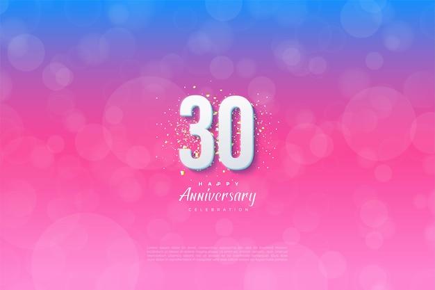 Sfondo del 30 ° anniversario con numeri e sfondo graduato dal blu al rosa Vettore Premium