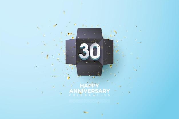 Sfondo del trentesimo anniversario con illustrazione di numeri all'interno della confezione regalo