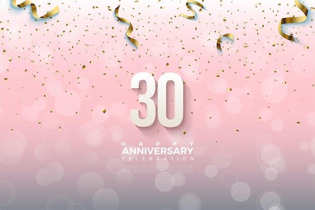 Sfondo del 30 ° anniversario con numeri tridimensionali e lamina d'oro che cade