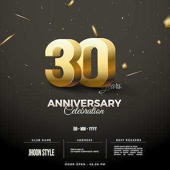 Invito per la celebrazione del 30° anniversario con numero 3d in oro