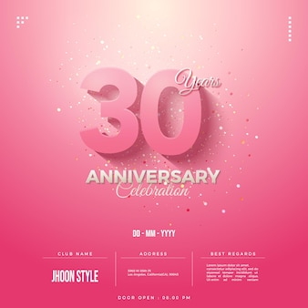 Invito per il 30° anniversario con sfondo rosa