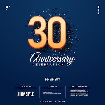 Invito per il 30° anniversario con numeri ombreggiati