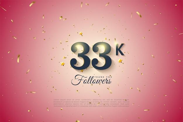 33k follower con numeri su sfondo sfumato chiaro