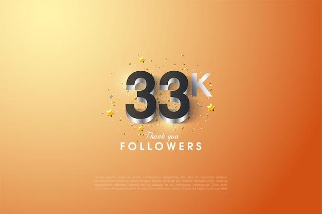 33k follower con numeri placcati argento lucido