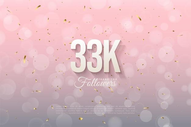 33k follower con numeri sfumati morbidi ed effetto bokeh