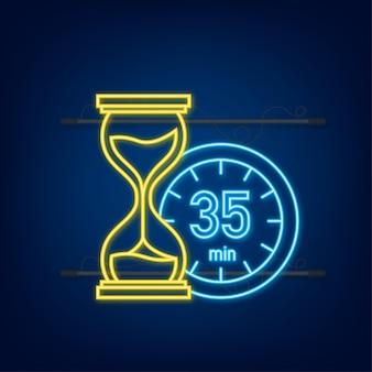 I 35 minuti, icona al neon di vettore del cronometro. icona del cronometro in stile piatto, timer su sfondo colorato. illustrazione vettoriale.