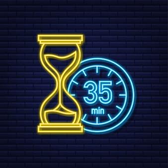 L'icona al neon di vettore del cronometro da 35 minuti icona del cronometro in stile piatto