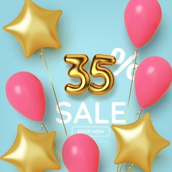 Vendita promozionale di 35 sconti fatta di numeri d'oro 3d realistici con palloncini e stelle. numero sotto forma di palloncini dorati.