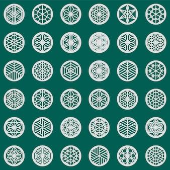 36 elementi basati sull'artigianato giapponese kumiko.