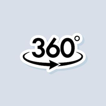 Adesivo per fotocamera a 360 gradi, logo, icona. vettore. immagine panoramica a 360 gradi. fotocamera, icona della foto. realta virtuale. cambio fotocamera frontale. vettore su sfondo isolato. eps 10