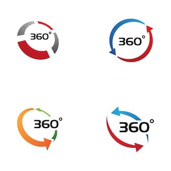 Modello di progettazione di icone vettoriali correlate con vista a 360 gradi