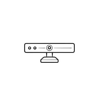 Icona di doodle del contorno disegnato a mano della fotocamera a 360 gradi. fotocamera panoramica, fotocamera per realtà virtuale, concetto di gadget video