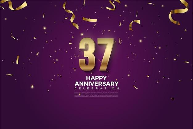 37 ° anniversario con numeri e nastri in oro
