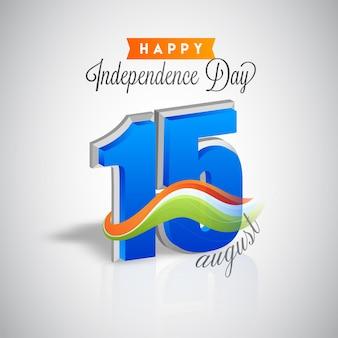 3d 15 numero di agosto con onda tricolore su sfondo grigio per felice giorno dell'indipendenza.