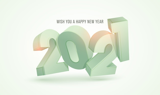 Numero 3d 2021 su sfondo verde pastello per la celebrazione del buon anno
