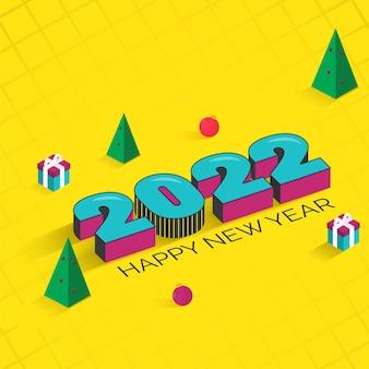 Testo 3d 2022 con alberi di natale, palline e scatole regalo su sfondo giallo incrociato.