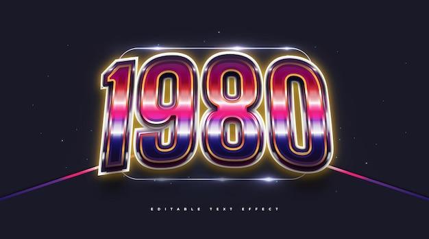 Stile di testo 3d anni '80 con effetto luminoso e lucido. effetto stile testo modificabile