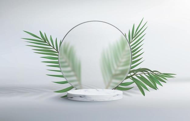 Fondo astratto 3d con il piedistallo di marmo. cornice tonda in vetro satinato con lamine da idraulico.