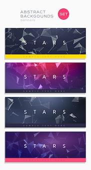 Set di copertine astratte 3d. composizione di linee e forme triangolari. banner di design futuristico.