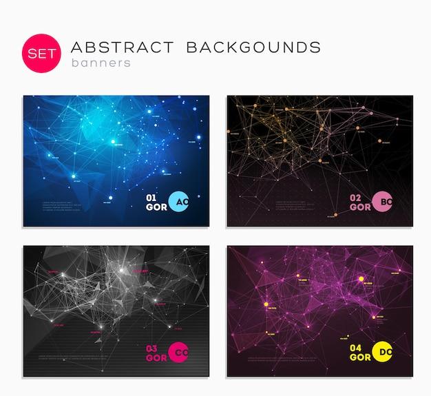 Set di copertine astratte 3d composizione di linee e forme triangolari poster di design futuristico