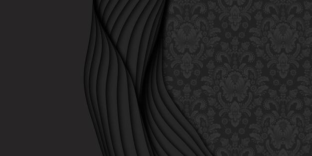 3d astratto sfondo scuro con carta tagliata e motivo damascato