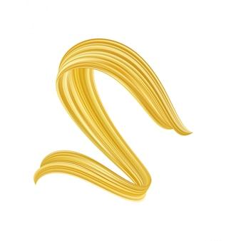Forma liquida di flusso contorto dorato astratto 3d. vernice acrilica color oro sroke.
