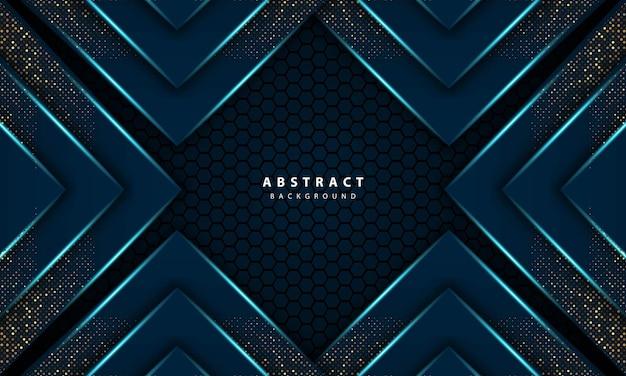 Illustrazione vettoriale di esagono blu chiaro astratto 3d di sfondo di lusso