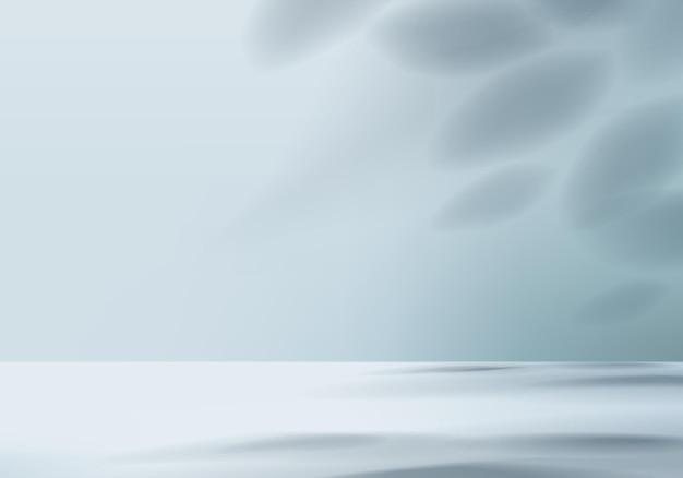 Scena minima astratta 3d con piattaforma geometrica foglia.
