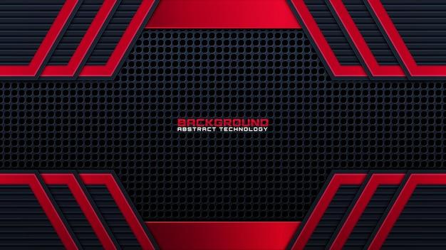 3d astratto moderno sfondo metallo nero scuro in acciaio con vip di lusso e colore rosso con linea argento scintillii glitter e decorazione sfumata forme geometriche vettore lucido, elementi di design