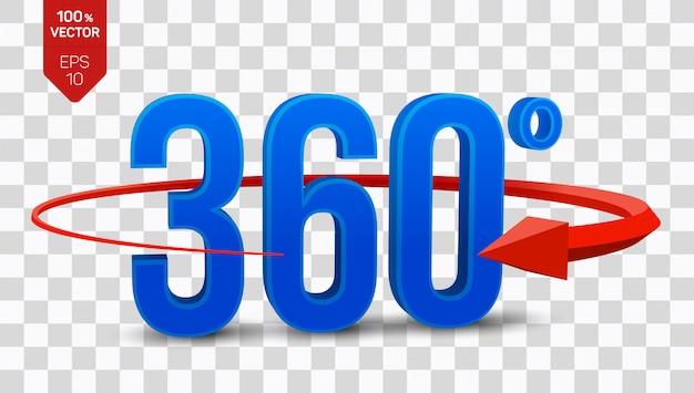 Icona di vista a 360 gradi angolo 3d isolato su sfondo trasparente.