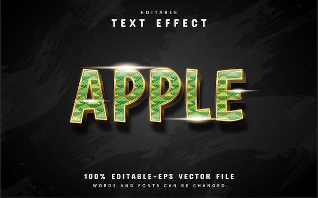 Effetto testo mela 3d con scintillii d'oro
