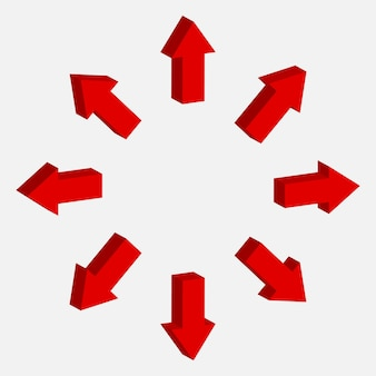 Vettore del segno della freccia 3d. simbolo destra, giù, su e giù. collezione puntatore rosso.