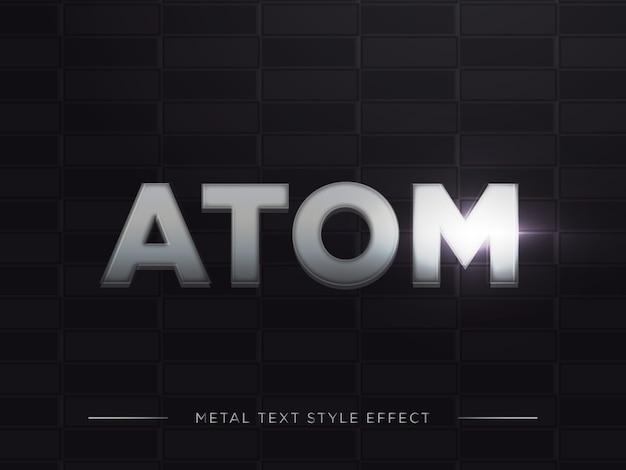 3d atom text style effect con sfumatura di ferro