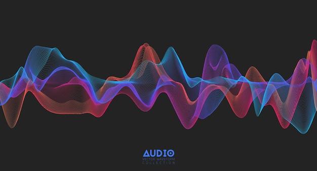 Onda sonora audio 3d. oscillazione dell'impulso musicale colorato.