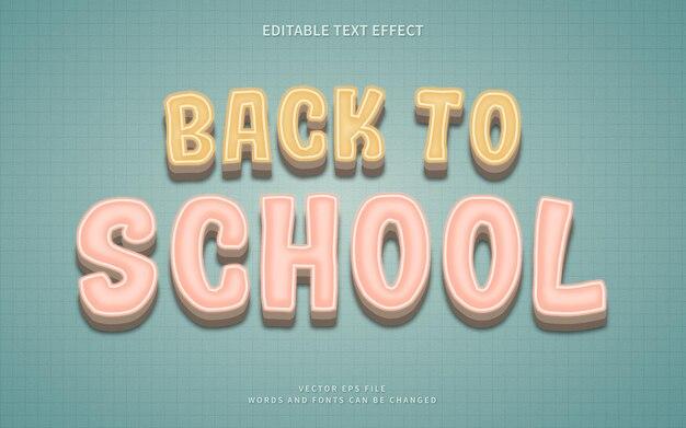 Effetto di testo 3d ritorno a scuola con stile vintage