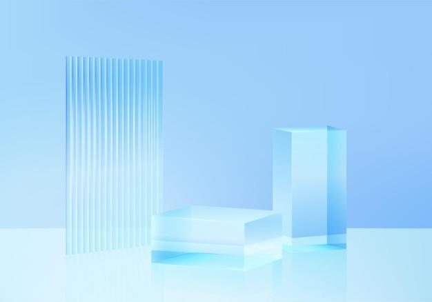 Piattaforma di sfondo 3d con vetro blu moderno. piattaforma del podio di cristallo della rappresentazione 3d di vettore del fondo. stand mostra prodotto cosmetico. vetrina scenica su piedistallo moderna piattaforma da studio in vetro