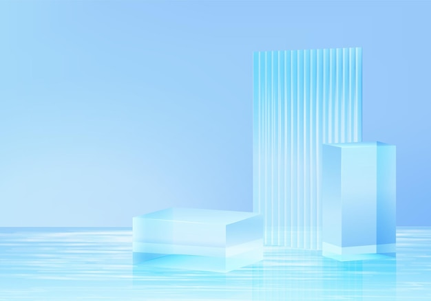 Piattaforma di sfondo 3d con vetro blu in acqua. piattaforma del podio di cristallo della rappresentazione 3d di vettore del fondo. stand mostra prodotto cosmetico. vetrina scenica su piedistallo moderno studio di vetro in piattaforma d'acqua