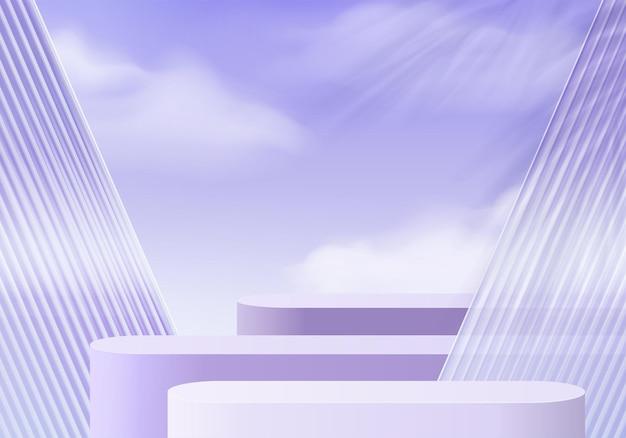 Piattaforma di sfondo 3d con vetro viola nel cloud. piattaforma del podio di cristallo della rappresentazione 3d di vettore del fondo. stand mostra prodotto cosmetico. vetrina scenica su piedistallo moderna piattaforma da studio in vetro