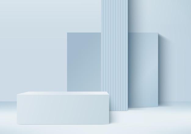 I prodotti di sfondo 3d mostrano la scena del podio con una piattaforma geometrica. sfondo rendering 3d con podio. vetrina scenica su piedistallo blue studio