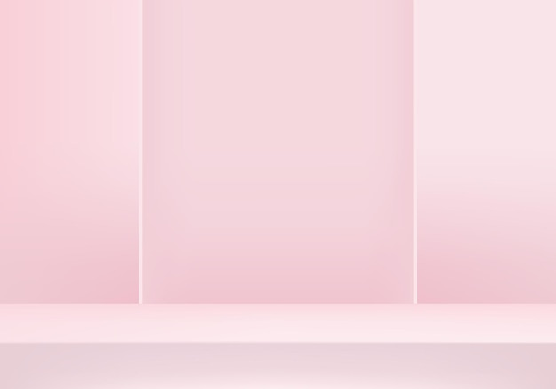 I prodotti di sfondo 3d mostrano la scena del podio con una piattaforma geometrica. sfondo rendering 3d con podio. vetrina scenica su piedistallo studio rosa
