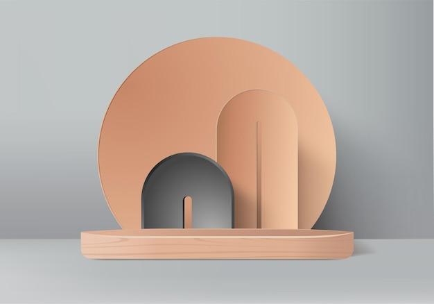 I prodotti di sfondo 3d mostrano la scena del podio con una piattaforma geometrica. sfondo rendering 3d con podio. stand per mostrare prodotti cosmetici. vetrina scenica su piedistallo beige studio